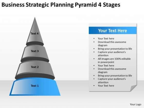 Business Strategic Planning Pyramid 4 Stages Ppt Online Software PowerPoint Slides