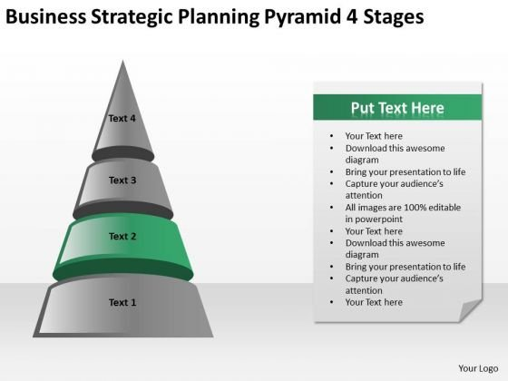 Business Strategic Planning Pyramid 4 Stages Ppt PowerPoint Templates