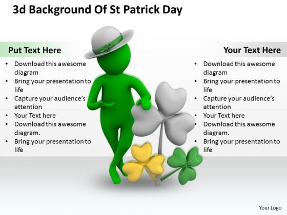 Business Strategy 3d Background Of Patrick Day Concepts