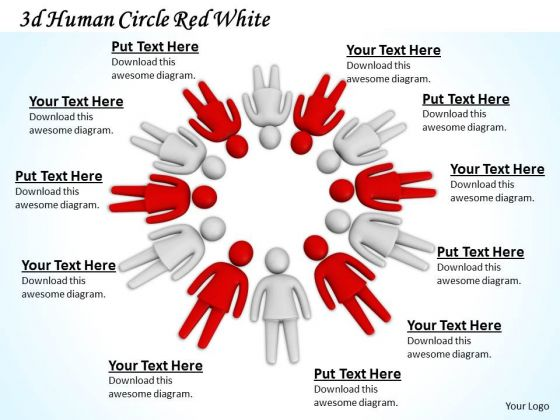 Business Strategy 3d Human Circle Red White Character Modeling