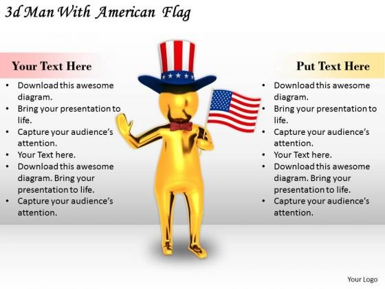 Business Strategy 3d Man With American Flag Adaptable Concepts