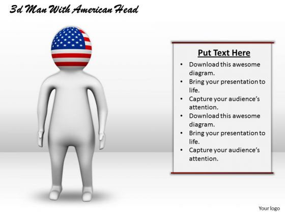 Business Strategy 3d Man With American Head Adaptable Concepts