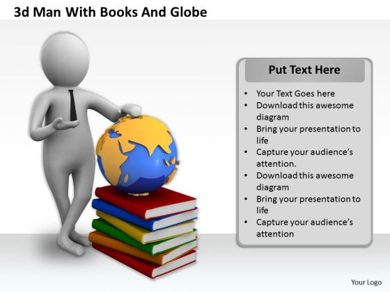Business Strategy 3d Man With Books And Globe Concept Statement