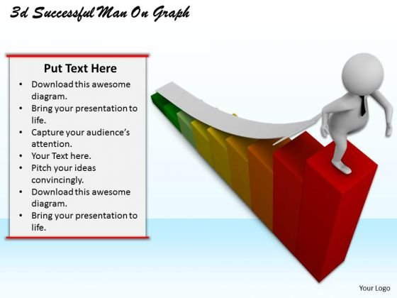 Business Strategy 3d Successful Man On Graph Concepts
