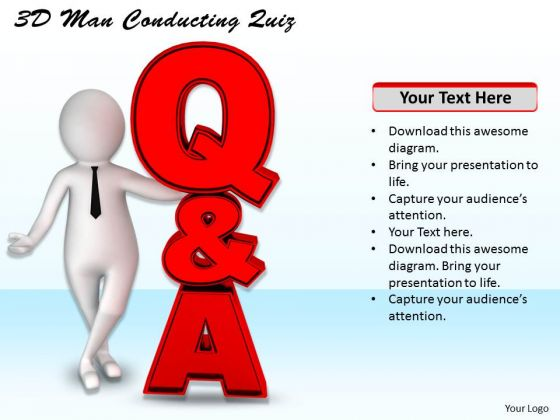 Business Strategy And Policy 3d Man Conducting Quiz Concept