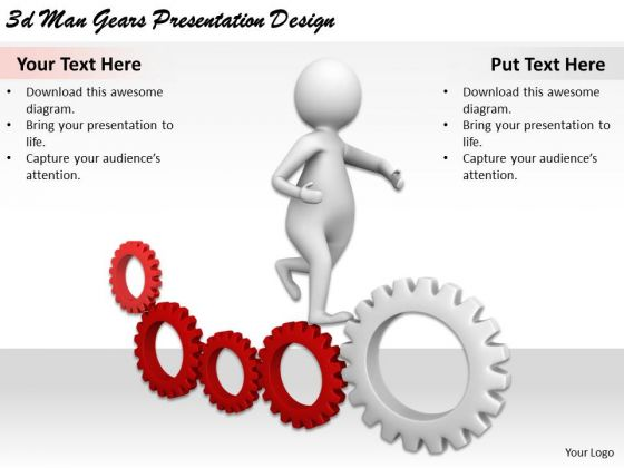 Business Strategy And Policy 3d Man Gears Presentation Design Concepts