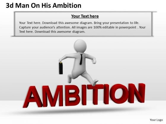 Business Strategy And Policy 3d Man On His Ambition Concept