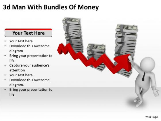 Business Strategy And Policy 3d Man With Bundles Of Money Characters