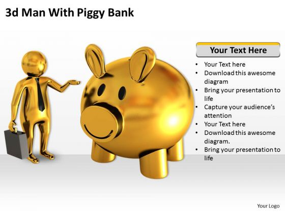 Business Strategy And Policy 3d Man With Piggy Bank Characters
