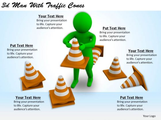 Business Strategy And Policy 3d Man With Traffic Cones Basic Concepts