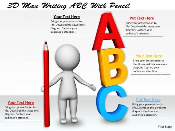 Business Strategy And Policy 3d Man Writing Abc With Pencil Character Modeling