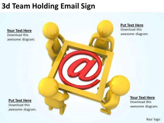 Business Strategy And Policy 3d Team Holding Email Sign Character Models