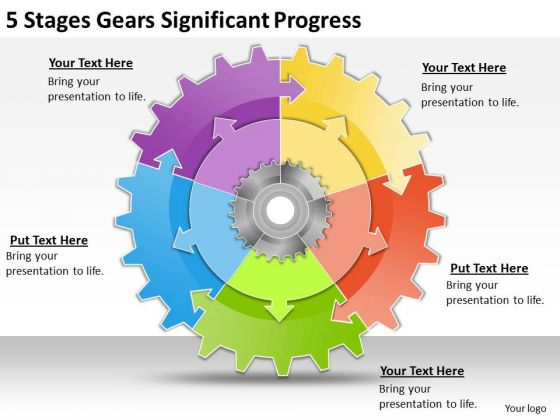 Business Strategy And Policy 5 Stages Gears Significant Progress Strategic Planning Steps Ppt Slide