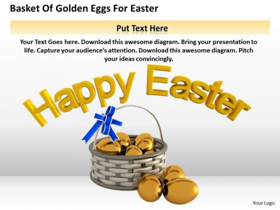 Business Strategy And Policy Basket Of Golden Eggs For Easter Icons