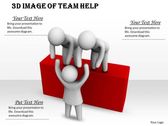Business Strategy Concepts 3d Image Of Team Help Characters