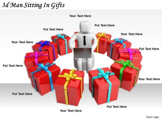 Business Strategy Concepts 3d Man Sitting Gifts Statement