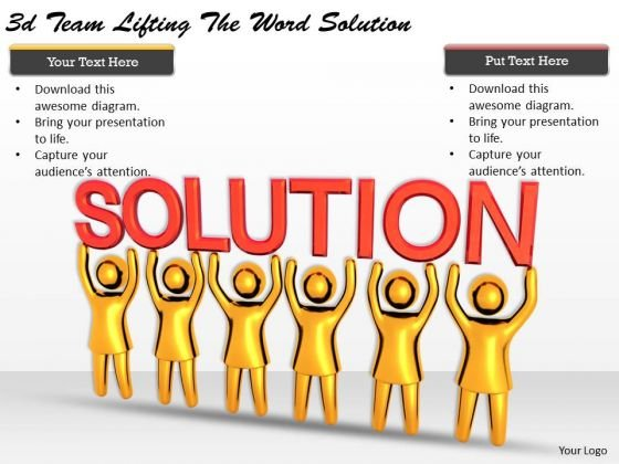 Business Strategy Concepts 3d Team Lifting The Word Solution Basic