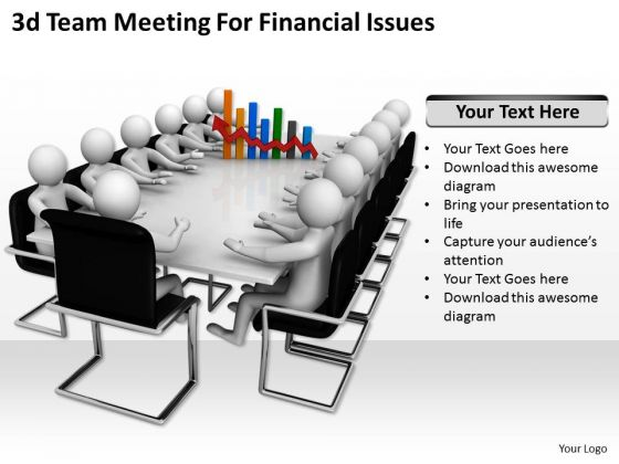 Business Strategy Concepts 3d Team Meeting For Financial Issues Basic