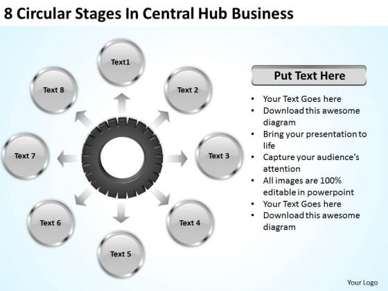 Business Strategy Concepts Circular Stages Central Hub Develop