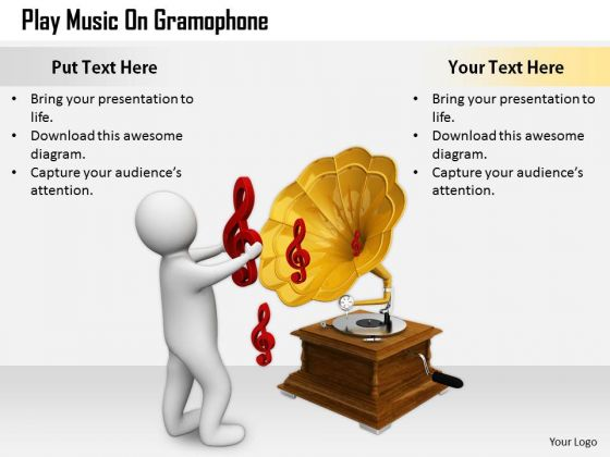 Business Strategy Concepts Play Music Gramophone 3d Characters