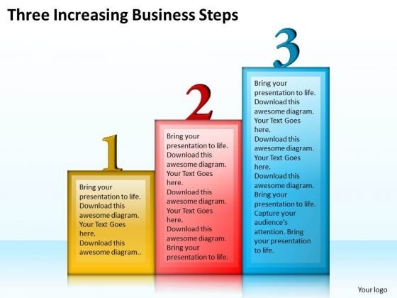 Business Strategy Concepts Three Increasing Steps Strategic Planning Ppt Slide