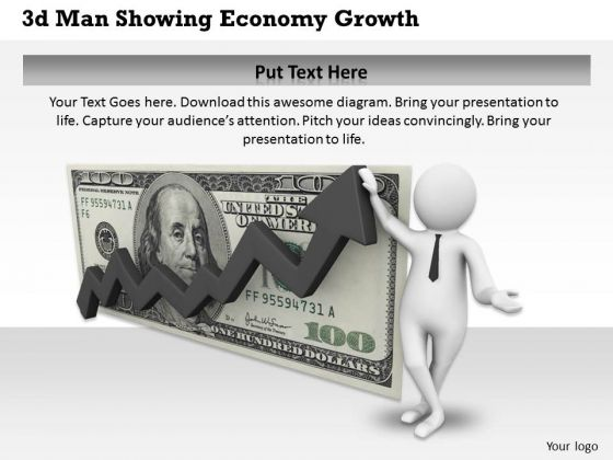 Business Strategy Consultant 3d Man Showing Economy Growth Concept Statement