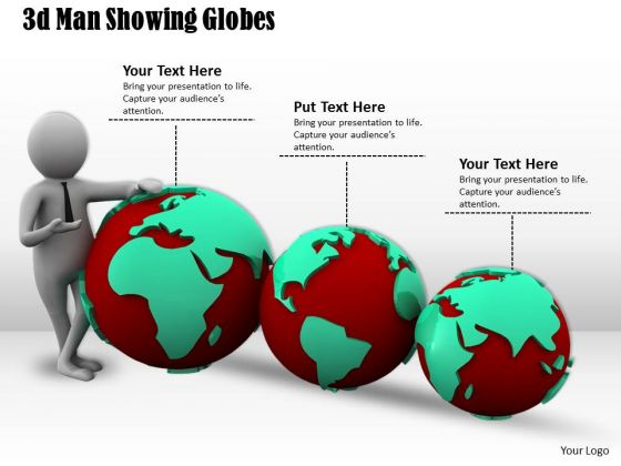 Business Strategy Consultant 3d Man Showing Globes Concept Statement