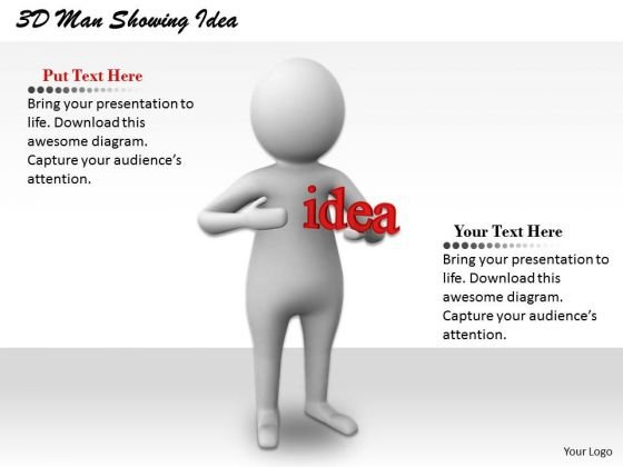 Business Strategy Consultant 3d Man Showing Idea Concept Statement