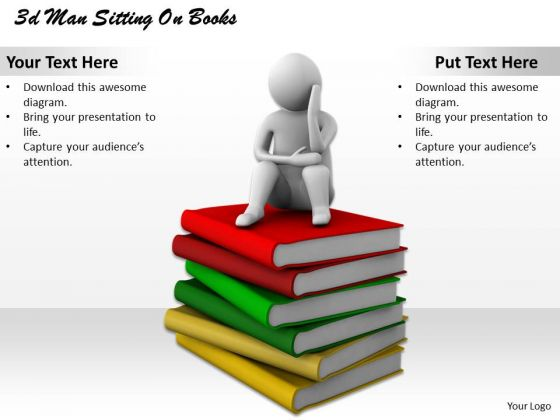 Business Strategy Consultant 3d Man Sitting Books Concept Statement