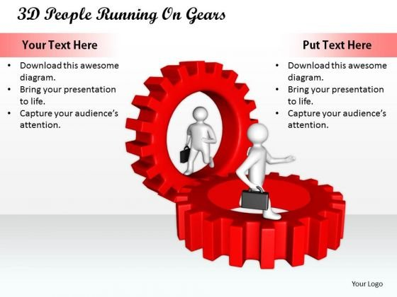 Business Strategy Consultant 3d People Running Gears Characters