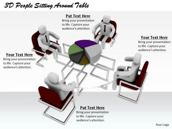 Business Strategy Consultant 3d People Sitting Around Table Characters