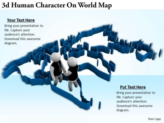 Business Strategy Consultants 3d Human Character World Map Concepts