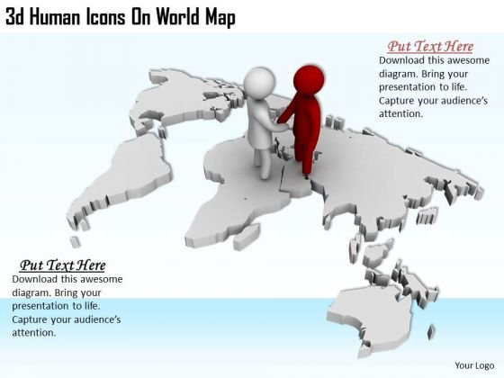 Business Strategy Consultants 3d Human Icons World Map Concepts
