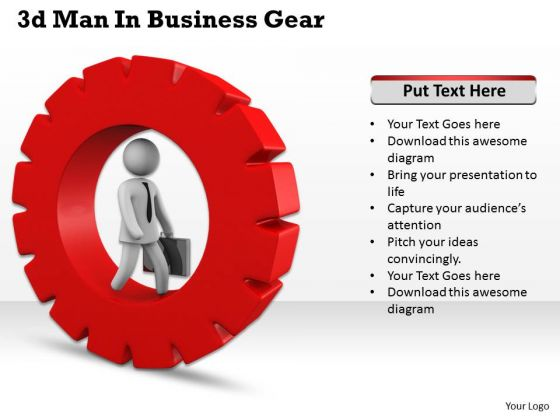 Business Strategy Consultants 3d Man Gear Concept Statement