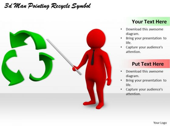 Business Strategy Consultants 3d Man Pointing Recycle Symbol Character Modeling