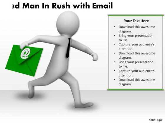 Business Strategy Consultants 3d Man Rush With Email Concept Statement