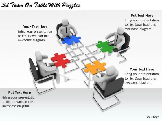 Business Strategy Consultants 3d Team Table With Puzzles Basic Concepts