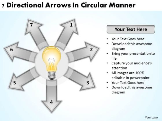 Business Strategy Consultants 7 Directional Arrows Circular Manner PowerPoint