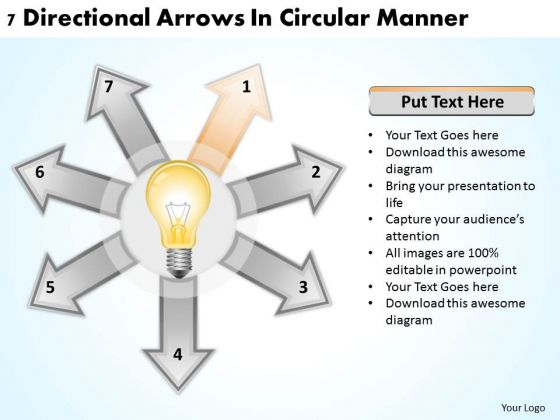 Business Strategy Consultants 7 Directional Arrows Circular Manner Ppt PowerPoint