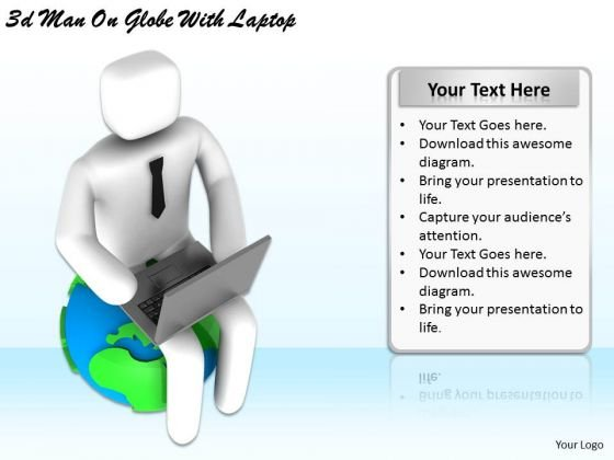Business Strategy Consulting 3d Man Globe With Laptop Character Modeling