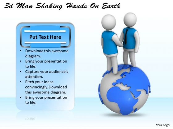 Business Strategy Consulting 3d Man Shaking Hands Earth Concepts