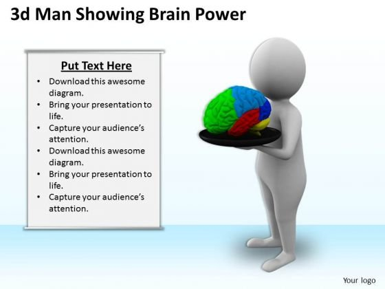 Business Strategy Consulting 3d Man Showing Brain Power Concepts