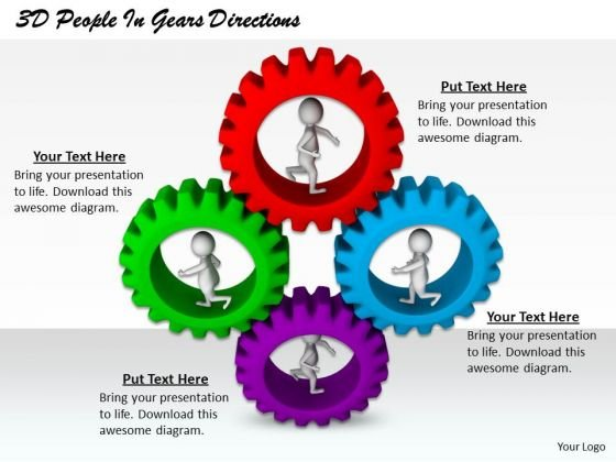 Business Strategy Consulting 3d People Gears Directions Adaptable Concepts