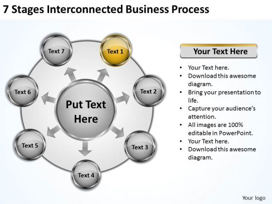 Business Strategy Consulting 7 Stages Interconnected Process PowerPoint
