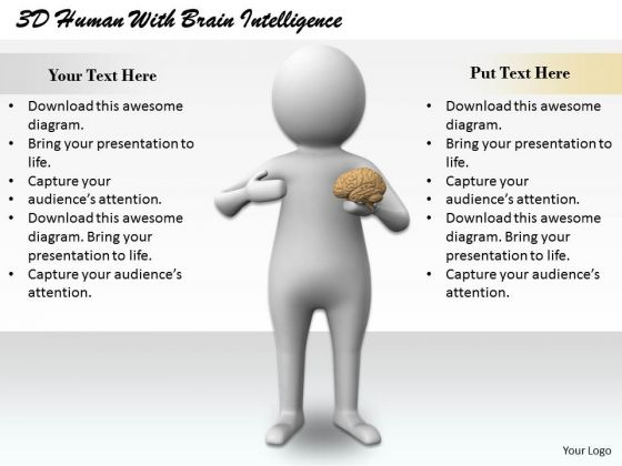 Business Strategy Development 3d Human With Brain Intelligence Concept Statement