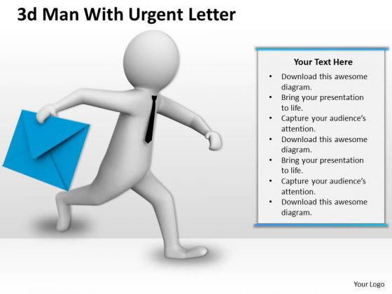 Business Strategy Development 3d Man With Urgent Letter Character