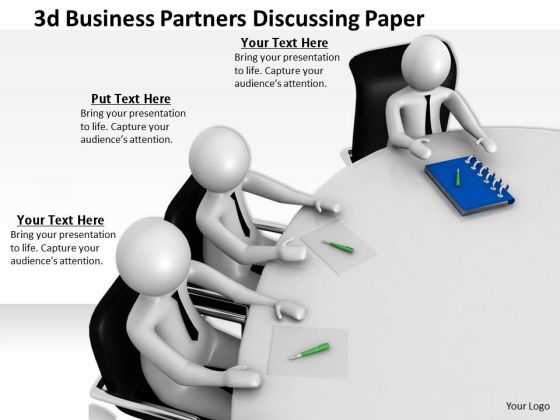 Business Strategy Development 3d Partners Discussing Paper Characters