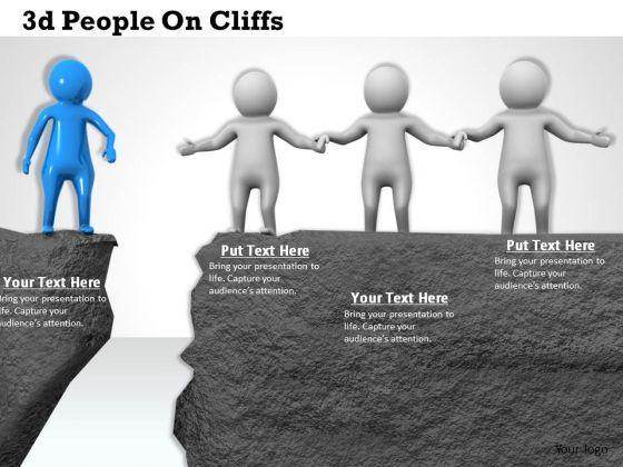 Business Strategy Development 3d People On Cliffs Concept Statement
