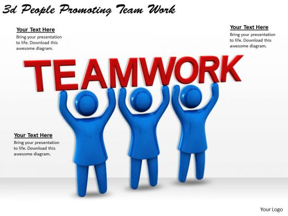 Business Strategy Development 3d People Promoting Team Work Concept Statement