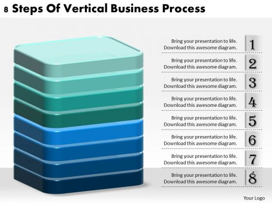 Business Strategy Development 8 Steps Of Vertical Process Strategic Planning Model Ppt Slide